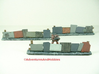 Three sheet metal barricades for 25-28mm scale war gaming - UniversalTerrain.com