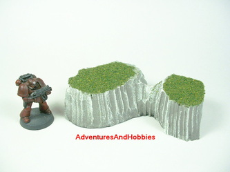 Co-joined grass topped rocky edge hills - UniversalTerrain.com
